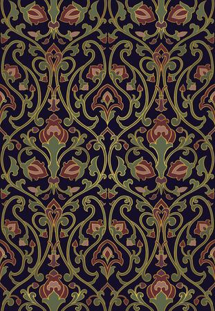 풍부한 꽃 패턴입니다. 원활한 선조 장식. 벽지, 섬유, 목도리, 카펫 및 표면 스타일 템플릿입니다. 새와 꽃과 함께 화려한 배경입니다.