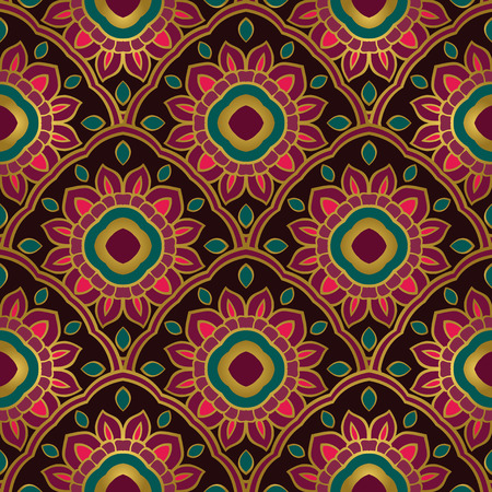 Seamless vector background. The pattern with floral simple mandalas. Oriental colorful ornament. Template for textile, mosaic, carpet.