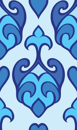 동양 추상 장식입니다. 카펫, 벽지, 섬유 및 표면에 대 한 템플릿입니다. 원활한 파란색 패턴입니다.