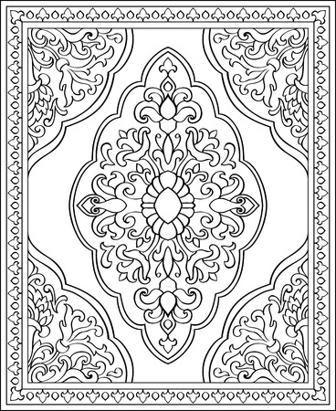 bedcover: Oriental abstract ornament. Template for carpet, shawl, textile, bedcover and any surface. Ornamental pattern with filigree details.