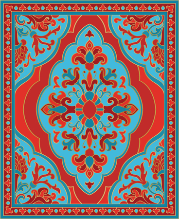 Oriental abstract ornament. Red and turquoise template for carpet, coverlet, shawl, textile and any surface. Ornamental pattern with filigree details.