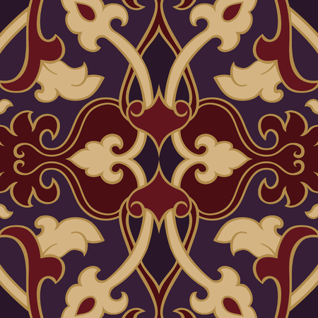 rich wallpaper: Oriental abstract ornament. Template for carpet, wallpaper, textile and any surface. Red and purple rich pattern.