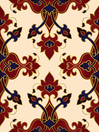 Oriental abstract ornament. Template for carpet, wallpaper, textile and any surface. Seamless colorful rich pattern.