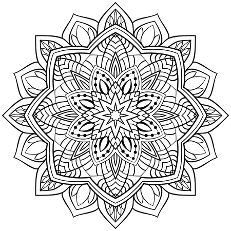 Vector abstract mandala with abstract elements, isolated on white background. Oriental ethnic ornament. Template for carpet and any surfaces. Design element.  イラスト・ベクター素材