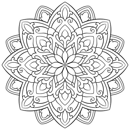 Vector abstract mandala with abstract elements, isolated on white background. Oriental ethnic ornament. Template for carpet and any surfaces. Design element. Ilustração