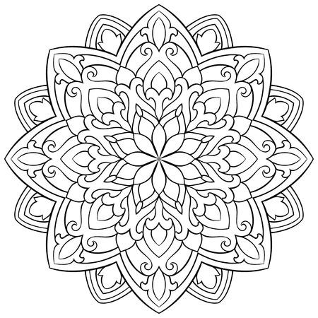 Vector abstracte mandala met abstracte elementen, die op witte achtergrond worden geïsoleerd. Oosters etnisch ornament. Sjabloon voor tapijt en alle oppervlakken. Ontwerpelement. Vector Illustratie