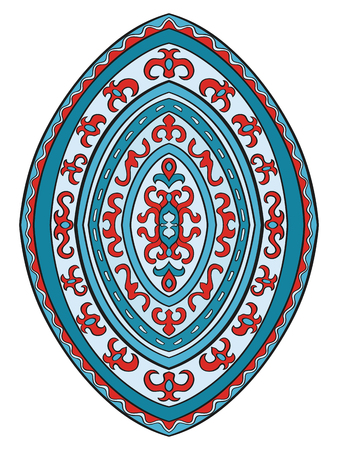 red rug: Abstract element of design. Template for carpet, wallpaper, textile and any surface. Vector blue and red ornament on a white background.
