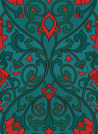 oriental rug: Pattern with ornamental flowers. Red and green filigree ornament. Colorful template for wallpaper, textile, shawl, carpet and any surface. Illustration