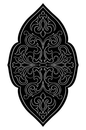 동양 추상 장식입니다. 카펫, 섬유 및 모든 표면에 대 한 템플릿입니다. 흰색 배경에 검정 벡터 패턴입니다. 디자인 요소입니다.