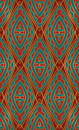 Oriental abstract ornament. Template for carpet, textile and any surface. Seamless colorful pattern on a red background.