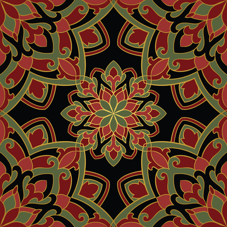 oriental rug: Oriental pattern of mandala. Vector red and green ornament on a black background. Template for shawl, textile, carpet.