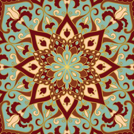 マンダラのカラフルな東洋の装飾。ショール、カーペット、織物および他の表面のテンプレートです。