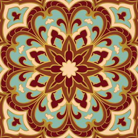 red rug: Colorful oriental ornament of mandala. Template for the shawl, carpet, textile and other surfaces.