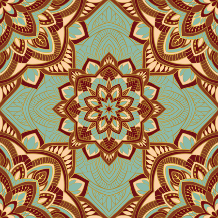 Colorful oriental ornament of mandalas. Template for the shawl, carpet, textile and other surfaces. Ilustração