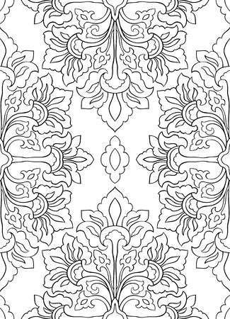 oriental rug: Pattern with abstract flowers. Seamless filigree ornament. Black and white template for wallpaper, textile, shawl, carpet and any surface. Illustration
