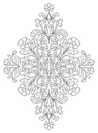 抽象的な花飾り。カーペット、壁紙、テキスタイル、任意の表面のテンプレートです。白の背景に黒の輪郭線のベクトル パターン。ダマスク織。  イラスト・ベクター素材
