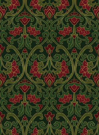 装飾用の花のパターン。赤と緑の細工の髪飾り。壁紙、テキスタイル、ショール、カーペット、任意の表面のカラフルなテンプレートです。