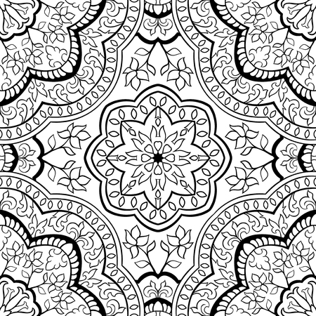 east indian: Abstract filigree pattern. Vector black and white background. Template for textile, carpet, shawl.