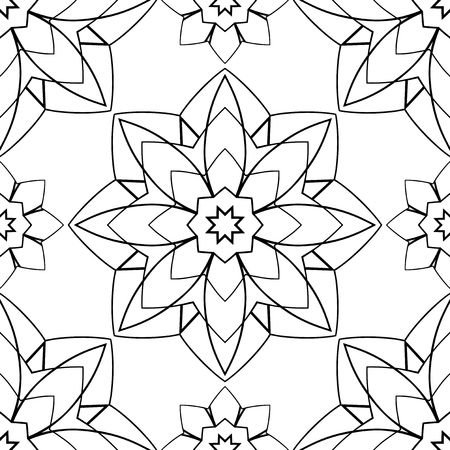 east indian: Seamless vector background. The pattern with contour geometric mandalas. Template for carpet, shawl, textile. Illustration