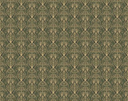ザクロと東洋グリーンのパターン。ベクターのシームレスな髪飾り。昔ながらの壁紙。繊維のテンプレートです。