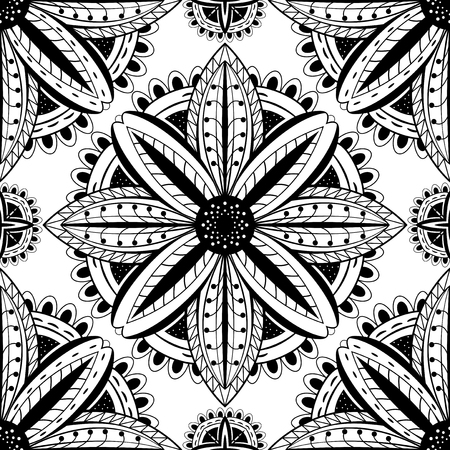 east indian: Abstract black and white pattern of mandalas. Vector ornament.