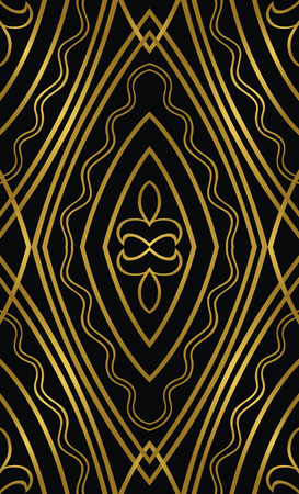Oriental abstract ornament. Black and gold pattern.