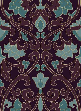 装飾用の花のパターン。暗い色の繊細な飾り。壁紙、テキスタイル、ショール、カーペット、任意の表面のテンプレートです。