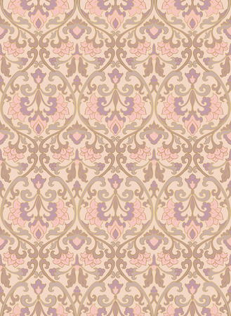 oriental rug: Pattern with ornamental flowers. Filigree ornament in pastel colors. Template for wallpaper, textile, shawl, carpet and any surface. Illustration