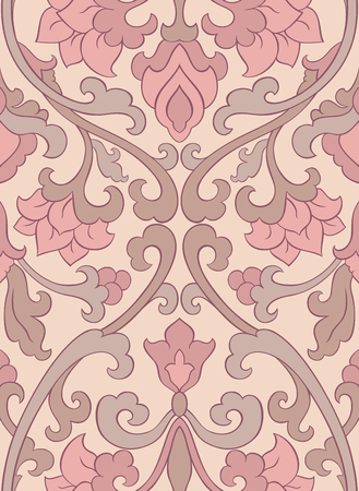 grey abstract background: Pattern with ornamental flowers. Filigree ornament in pastel colors. Template for wallpaper, textile, shawl, carpet and any surface. Illustration