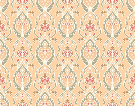 Oriental pattern with pomegranates. Vector seamless ornament. Old-fashioned  wallpaper. Template for the textile.