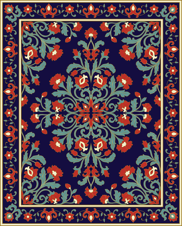 Oriental floral ornament. Colorful template for carpet, shawl, textile and any surface. Ornamental blue pattern.