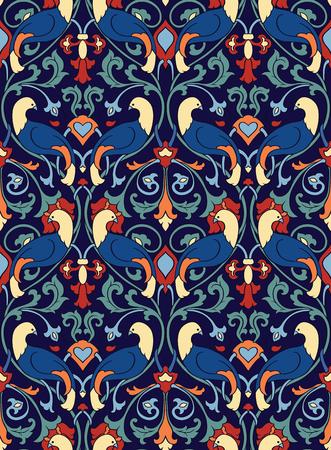 요정 꽃 패턴입니다. 원활한 선조 장식입니다. 벽지, 섬유, 목도리, 카펫 및 모든 서피스에 대 한 양식에 일치시키는 템플릿. 조류와 꽃 화려한 배경입니다.