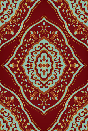 oriental rug: Oriental red and blue ornament. Template for carpet, textile, wallpaper and any surface. Illustration