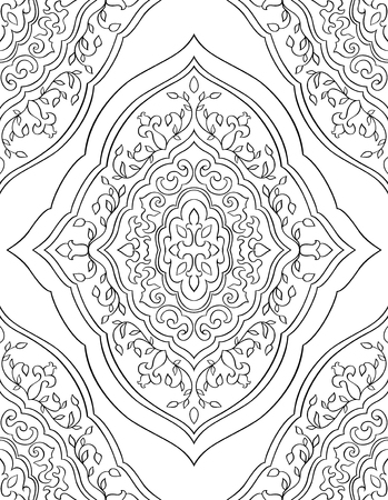 oriental rug: Ornamental eastern pattern. Seamless filigree ornament. Black and white template for wallpaper, textile, shawl, carpet and any surface.