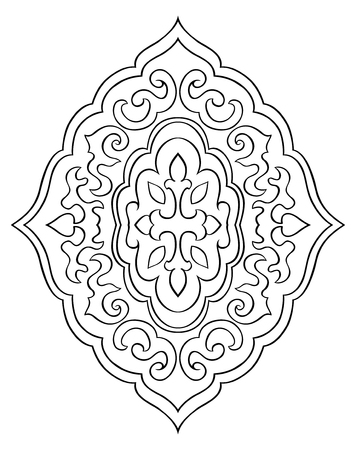 oriental rug: Abstract medallion for design. Template for carpet, wallpaper, textile and any surface. Vector pattern of black ornament on a white background. Illustration