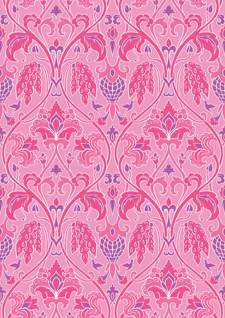 Pink and lilac floral pattern. Seamless filigree ornament. Stylized template for wallpaper, textile, shawl, carpet and any surface. Pattern with flowers and hummingbird.