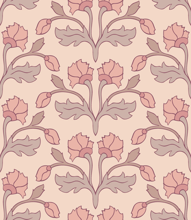 oriental rug: Floral pattern in pastel colors. Seamless ornament. Template for wallpaper, textile and any surface.