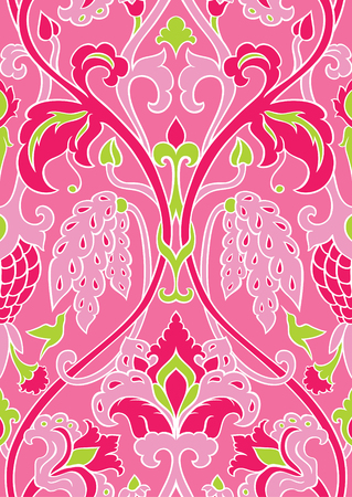 Pink and green floral pattern. Seamless filigree ornament. Stylized template for wallpaper, textile, shawl, carpet and any surface. Pattern with flowers and hummingbird. Illustration