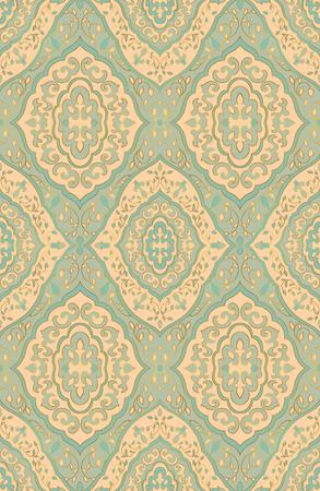 Oosterse blauw en beige ornament. Sjabloon voor tapijt, textiel, behang.