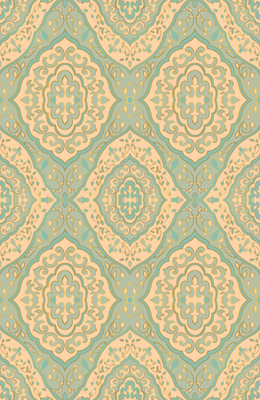Oriental blue and beige ornament. Template for carpet, textile, wallpaper.
