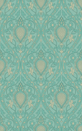 Pattern with damask. Turquoise filigree ornament. Elegant template for wallpaper, textile, shawl, carpet.