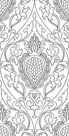 oriental rug: Pattern with damask. Seamless filigree ornament. Black and white template for wallpaper, textile, shawl, carpet and any surface.