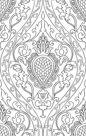ダマスク模様。シームレスな細工の髪飾り。壁紙、テキスタイル、ショール、カーペットの黒と白のテンプレートです。