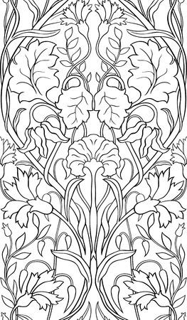 黒と白の花柄。シームレスな細工の髪飾り。壁紙、織物、カーペット、任意の表面の様式化されたテンプレートです。