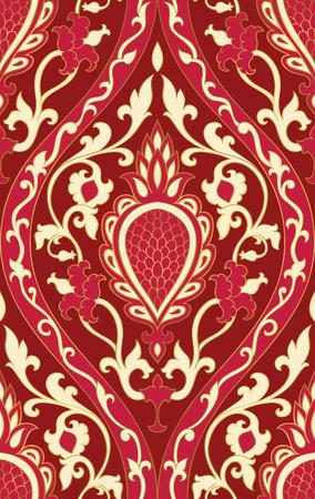 ダマスク模様。赤い線条細工の髪飾り。壁紙、テキスタイル、ショール、カーペットのエレガントなテンプレートです。