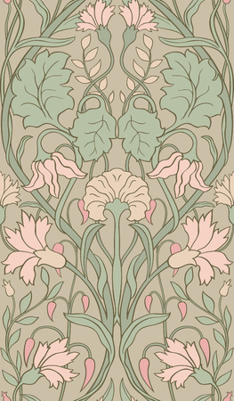 Tender floral pattern. Seamless filigree ornament. Stylized template for wallpaper, textile, linen, bedspread, curtain, shawl, carpet.