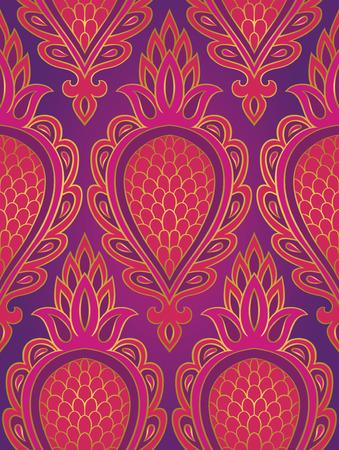 抽象的なフルーツとカラフルなパターン。シームレスな細工の髪飾り。壁紙、テキスタイル、ショール、カーペットのピンクと紫のテンプレートで  イラスト・ベクター素材