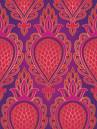 Colorful pattern with abstract fruit. Seamless filigree ornament. Pink and purple template for wallpaper, textile, shawl, carpet. Vettoriali