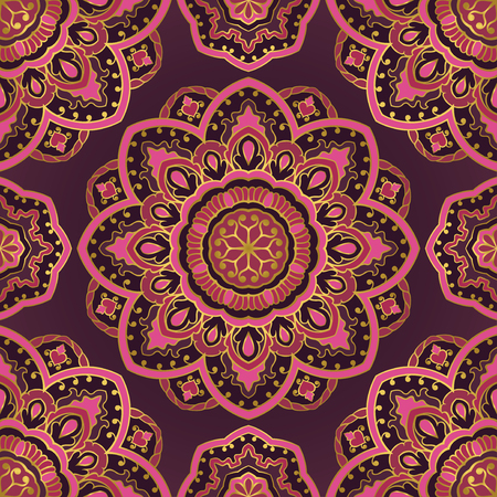 oriental rug: Colorful filigree pattern. Pink and purple background. Oriental abstract ornament. Template for textile, carpet, cushion, shawl.