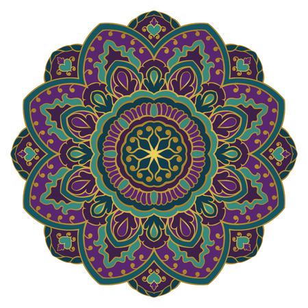 Bunte Mandala auf einem weißen Hintergrund. Östliches ethnisches Ornament Design-Element. Standard-Bild - 80628541